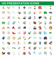 100 presentation icons set cartoon style vector image