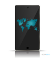 Touchscreen device with map vector image vector image