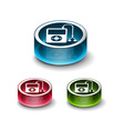 3d glossy musical player icon vector image