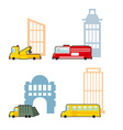 Vehicle and industrial buildings Fire truck and vector image