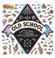 Funny Old School Tattoo Set vector image