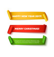 Merry Christmas paper roll banners with realistic vector image