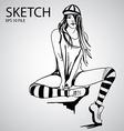 Sketched girls vector image
