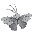 Butterfly grey colored gem rhinestones vector image