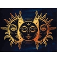 Moon and Sun with faces vector image vector image