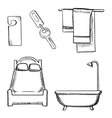 Key door tag bed bathroom and towels sketch vector image
