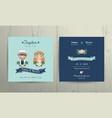 Wedding invitation card beach theme cartoon couple vector image