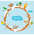 Circle Tree With Houses Animal And Snow vector image