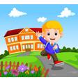 happy little kids going to school vector image