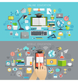 Online Education and Mobile courses concepts vector image