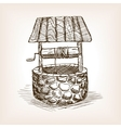 Rustic well sketch style vector image