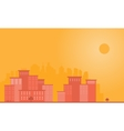 Silhouette of town city and sun landscape vector image