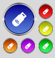 usb Icon sign Round symbol on bright colourful vector image