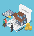 isometric couple talking with real estate agent vector image
