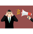 Hand hold megaphone screaming to businessmen vector image