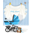 baby shower blue card vector image