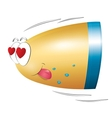 Bullet in love fly Valentines day Isolated vector image