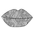 lips lipstick zen kiss tangle pattern vector image
