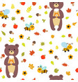 seamless pattern with bears and bees cute vector image