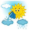 sun and clouds with rain vector image