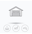 Mailbox video monitoring and garage icons vector image