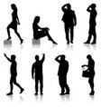 set black silhouettes of beautiful man and woman vector image