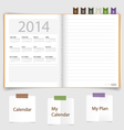 2014 calendar on notebook paper June vector image