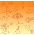 Doodle summer orange backgrounds vector image