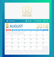 august 2018 calendar or desk vector image