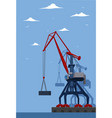 commercial seaport banner with port crane vector image