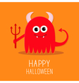 Cute red evil monster with horns fangs and trident vector image