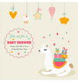 holiday card with cute lama and presents vector image