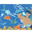Man And Snorkeling vector image