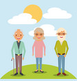 older woman and men grandparents standing in vector image