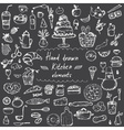 Set of hand drawn design elements for kitchen vector image