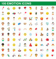 100 emotion icons set cartoon style vector image