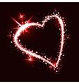 Sparkling heart on dark background vector image