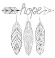 Bohemian Arrow Hand drawn Amulet with letters vector image vector image