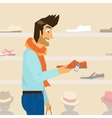Handsome guy is doing shopping vector image