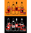 glasses and bottles collection vector image vector image