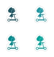 assembly realistic sticker design on paper scooter vector image
