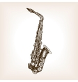 Saxophone hand drawn sketch style vector image