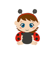 Baby dressed as ladybug vector image