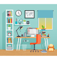 Workplace of the schoo kid - flat style vector image vector image
