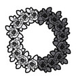 Gray scale silhouette crown flowered roses with vector image