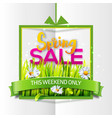 spring sale paper banner with green ribbon vector image