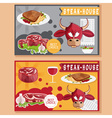 steak house with bullmeatwine and salad vector image