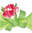 Bouquet of red tulips vector image vector image
