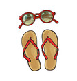 flip flops and round sunglasses summer objects vector image