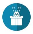 cute rabbit hiding gift box surprise shadow vector image